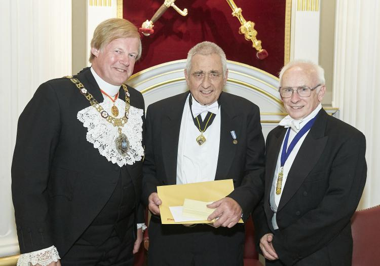 Hugh Adams CWCB receiving his award from Alderman Sir David Wootton and President Dr Trevor Brignall - Photo courtesy of Clive Totman Photography